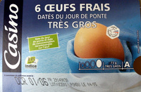 6 Oeufs frais datés du jour de ponte Très Gros - Produit