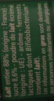 Bifidus saveur noix de coco - Ingrédients