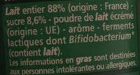 Lait fermenté au Bifidus* saveur noix de coco - Ingrédients