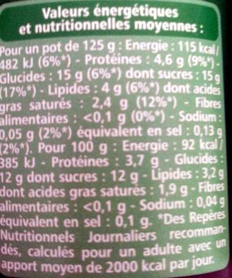 Bifidus saveur noix de coco - Informations nutritionnelles