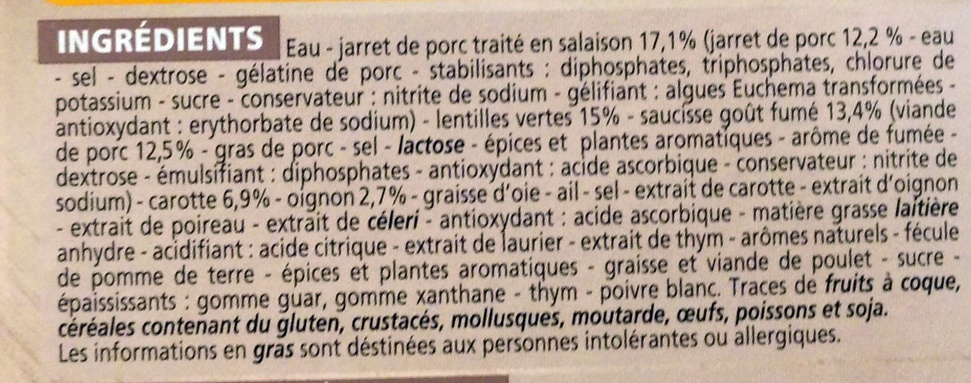 Petit salé aux lentilles vertes - Ingrediënten - fr
