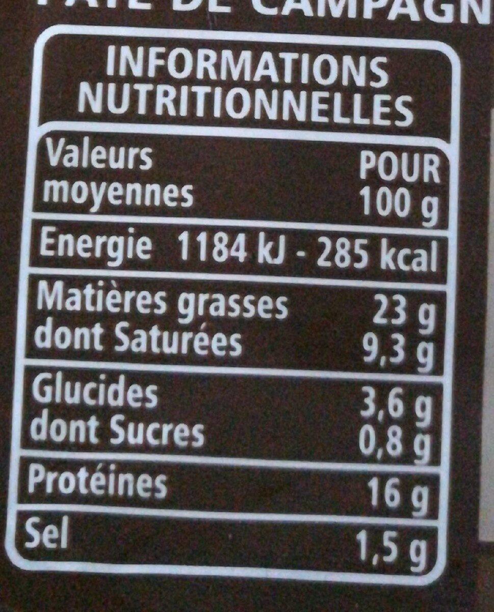 Mousse de foie Pâté de campagne recette à l'ancienne - Nutrition facts
