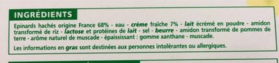 Epinards hachés à la crème - Ingrédients