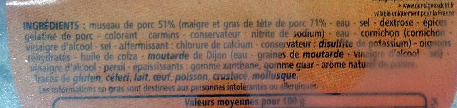 Museau de Porc - Ingrediënten - fr