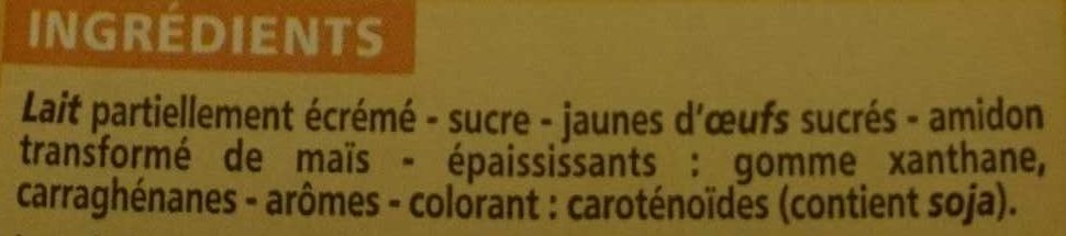 Crème anglaise - Ingredients