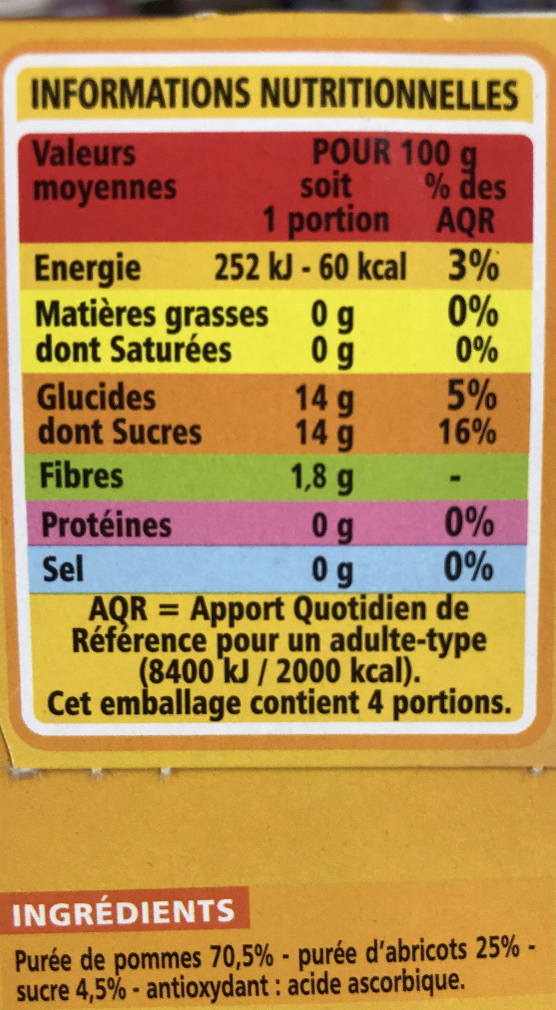 Compote allégée Pommes Abricots - Ingredients