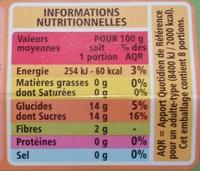 Compote Pomme allégée en sucres - Nährwertangaben