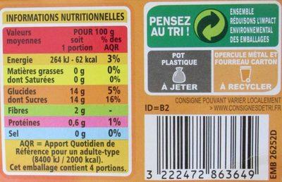 Compote Pomme Abricot allégée en sucres - Nutrition facts