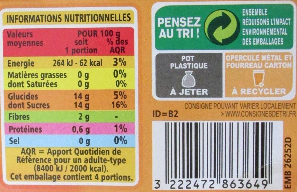 Compote Pomme Abricot allégée en sucres - Nährwertangaben