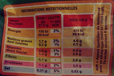Galettes de légumes Courgettes - Petits légumes - Informations nutritionnelles