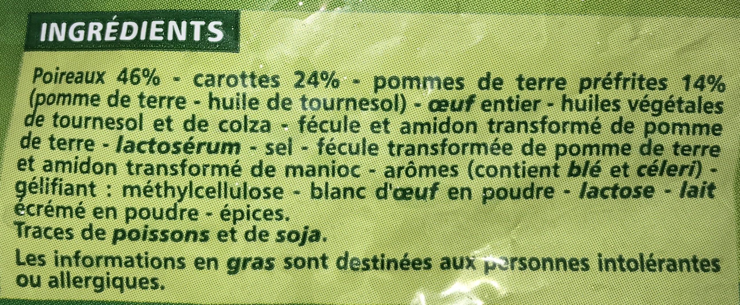 Galettes de légumes Poireaux - carottes - pommes de terre - Ingredients