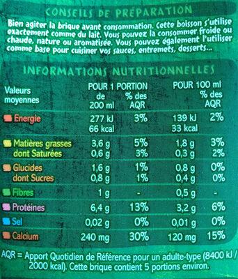 Boisson au soja calcium BIO - Voedingswaarden - fr