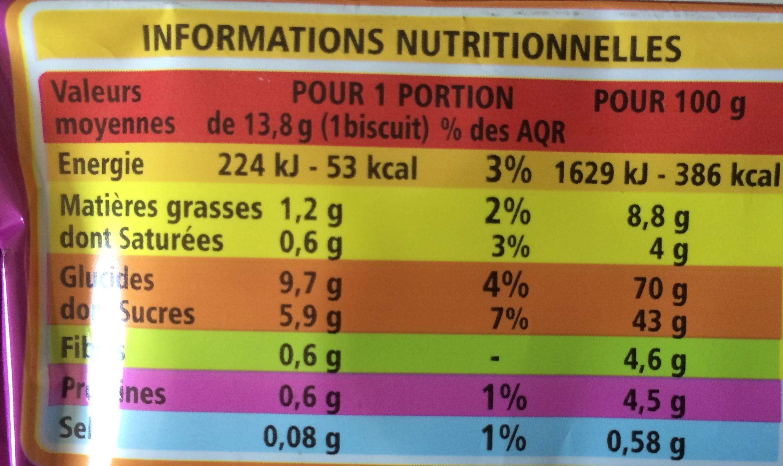 Biscuits à la figue - Nutrition facts - en