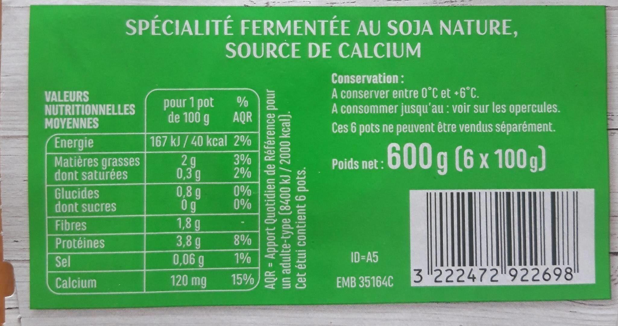 Spécialité au soja nature - Informations nutritionnelles - fr