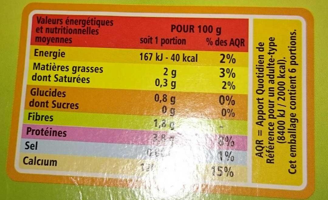 Spécialité au soja nature source de calcium - Informations nutritionnelles