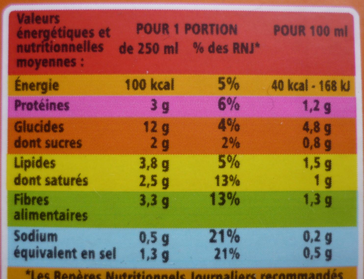 Velouté de légumes et légumes verts au Comté fondu - Nutrition facts - fr