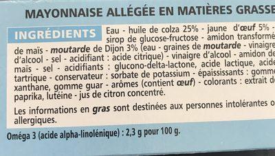 Mayonnaise allégée - Riche en Oméga 3 - Ingredients