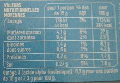 Mayonnaise allégée - Riche en Oméga 3 - Nutrition facts