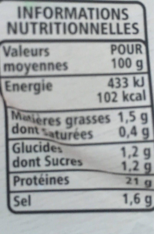 Blanc de poulet à la méridionale - Informations nutritionnelles - fr