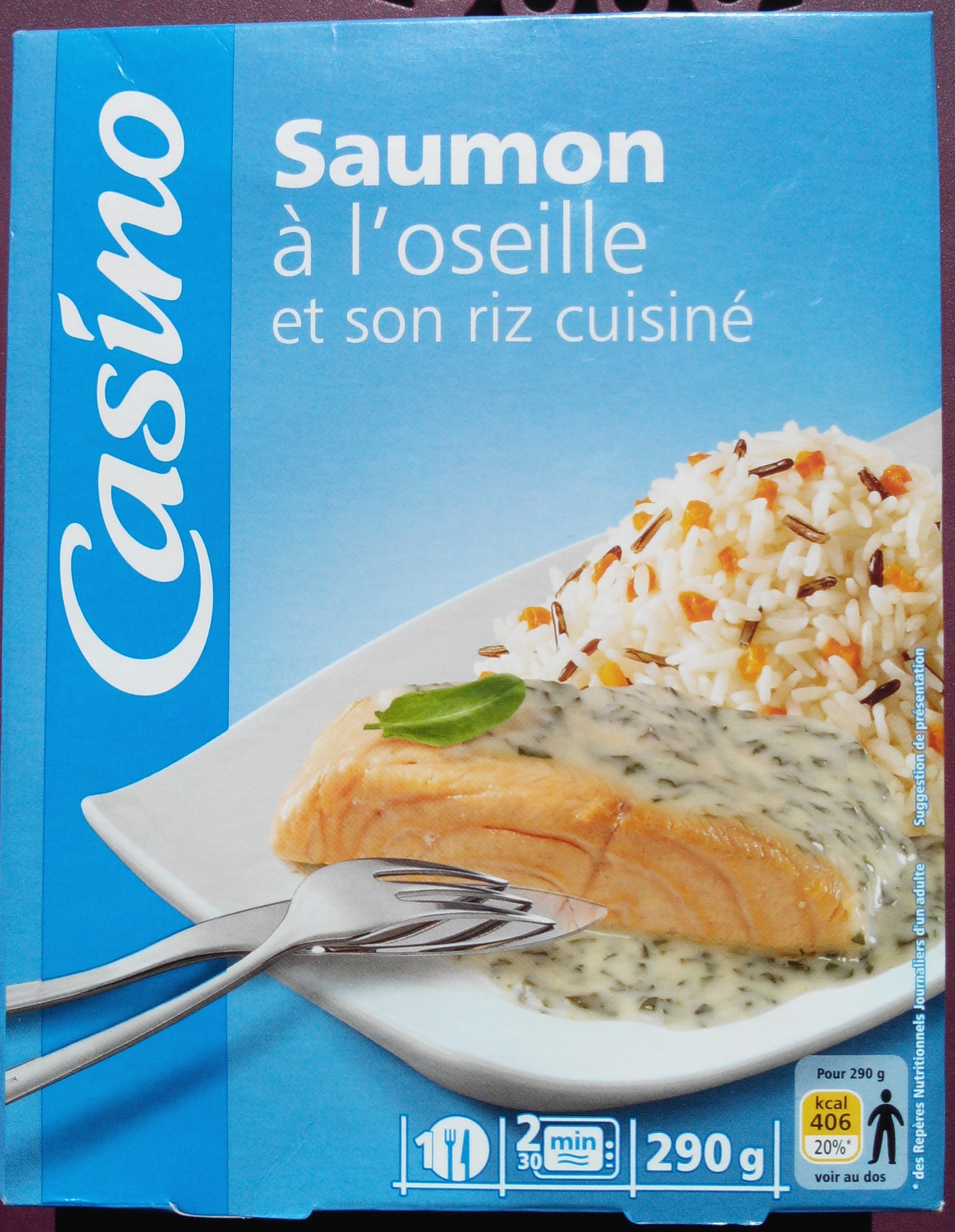 saumon à l'oseille et son riz cuisiné - casino - 290 g