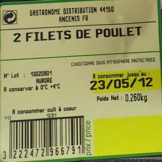 Filets de poulets, blanc - Ingrédients