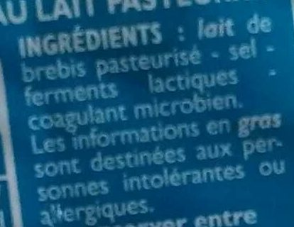 Fromage de brebis - Ingrediënten