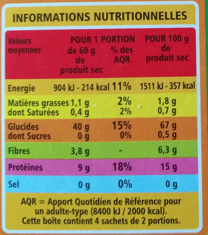 Grains de blé précuits - Informations nutritionnelles - fr
