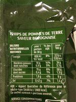 Chips Saveur Bolognaise - Nutrition facts