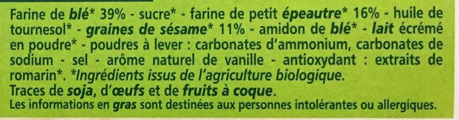 BISCUITS blé, épeautre et sésame - Ingrédients