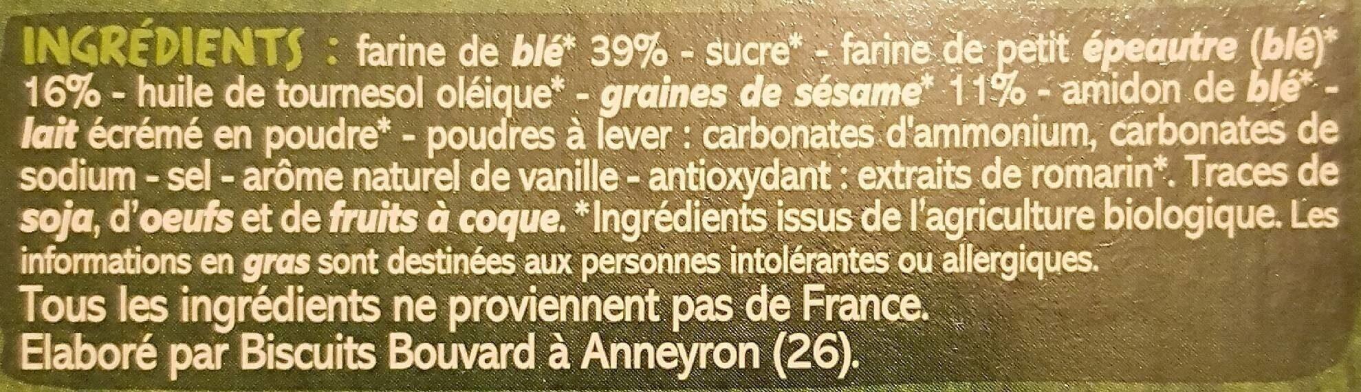 BISCUITS blé, épeautre et sésame - Ingrediënten - fr