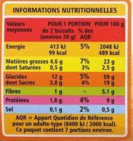 BISCUITS blé, épeautre et sésame - Informations nutritionnelles