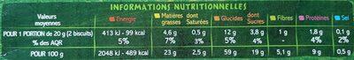 BISCUITS blé, épeautre et sésame - Voedingswaarden - fr