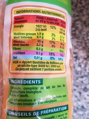 Penne rigate - Ingredients