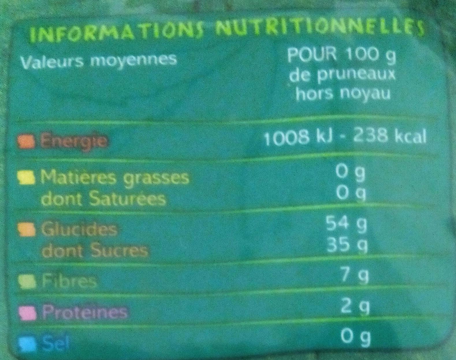Pruneaux d'Agen - Voedingswaarden - fr