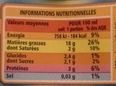 Soja Cuisine - Voedingswaarden - fr