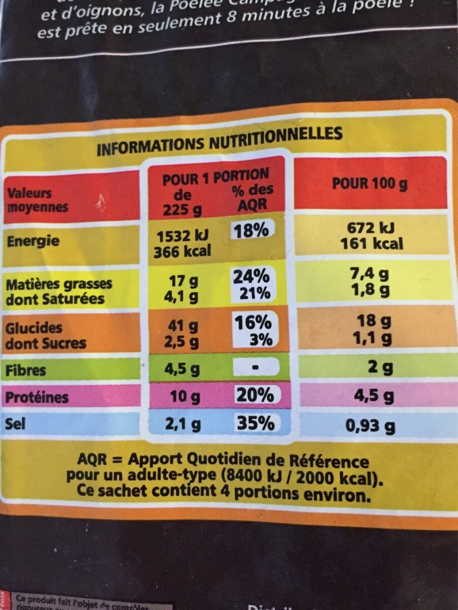 Poêlée Campagnarde (Pdt, Bœuf, Ognion) - Nutrition facts