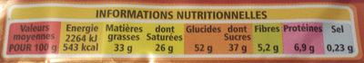 Choco Gaufrettes - Informations nutritionnelles