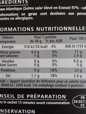 Saumon Atlantique fumé élevé en Ecosse - Nutrition facts