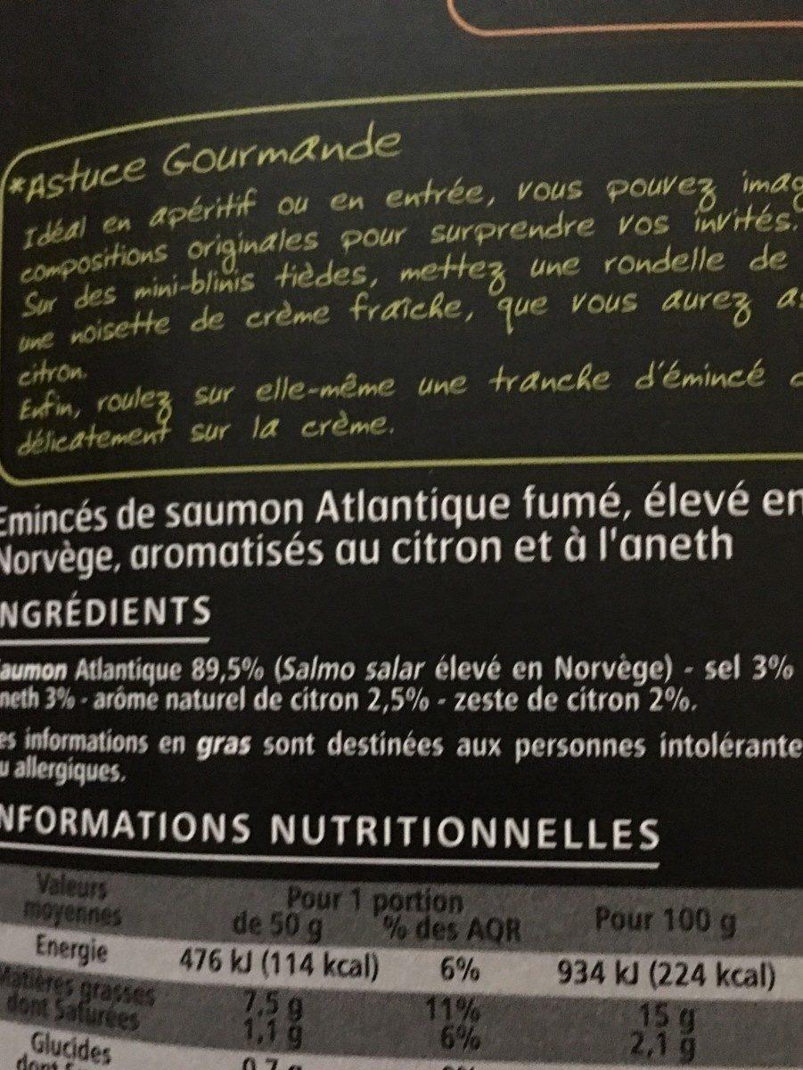 Emincés de saumon fumé aneth citron - Ingredienti - fr