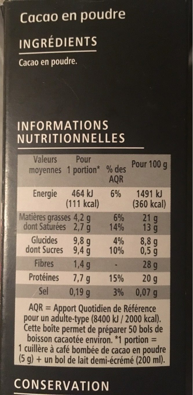 100% Cacao - Nutrition facts - fr