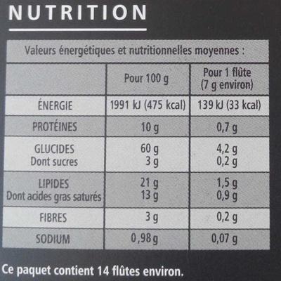 Flûtes tomate saveur chèvre - Informations nutritionnelles - fr