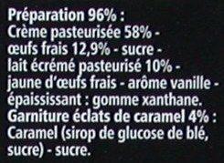 Crème brûlée - Eclats de caramel - Ingredients