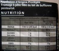 Mozzarella Di Bufala Campana - Informations nutritionnelles