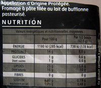 Mozzarella Di Bufala Campana - Informations nutritionnelles - fr