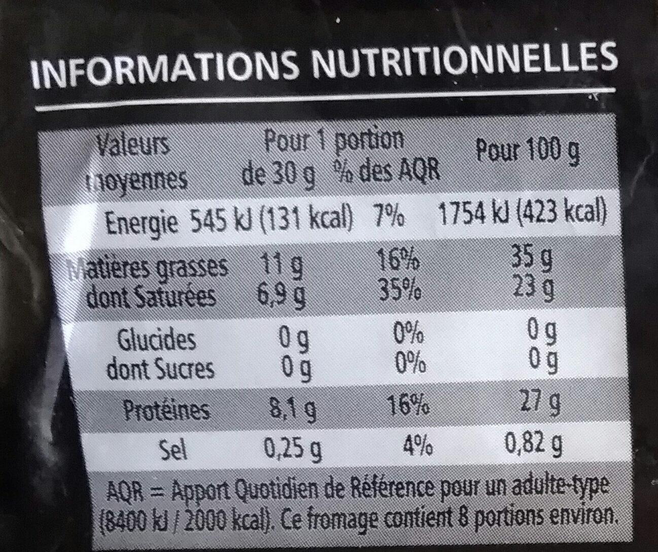 Comté AOP affiné 12 mois minimum - Informations nutritionnelles - fr