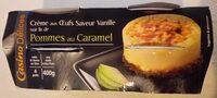 Crème aux oeufs saveur vanille sur lit de pommes au caramel - cuite et dorée au four - Produit - fr