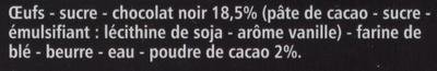 Coeur fondant - Au chocolat noir - Ingrédients - fr