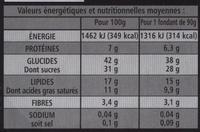 Coeur fondant - Au chocolat noir - Informations nutritionnelles - fr