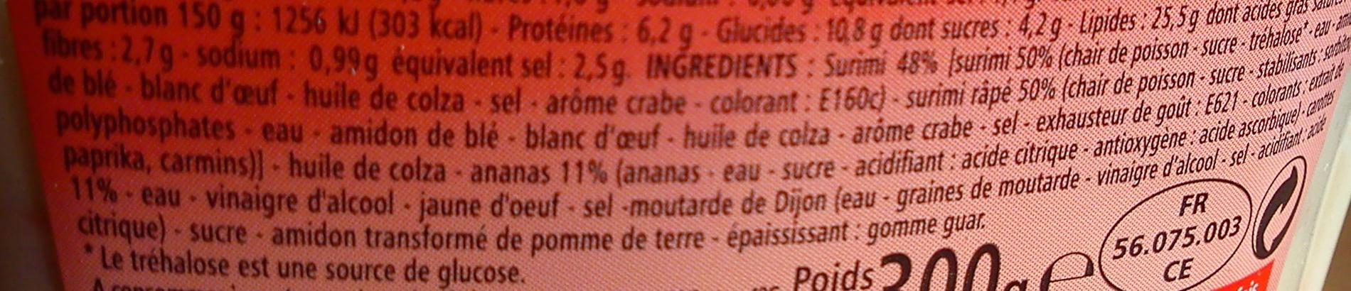 Salade de Surimi, Carottes Ananas - Ingrédients - fr