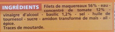Filets de maquereaux à la sauce tomate et au basilic - Ingrédients - fr